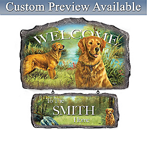 Linda Picken Golden Retrievers Personalized Welcome Sign