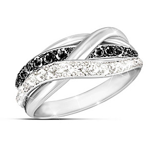 """In Harmony"" Black And White Diamond Ring"