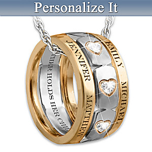"""Mom's Forever Love"" 3-Band Personalized Pendant Necklace"