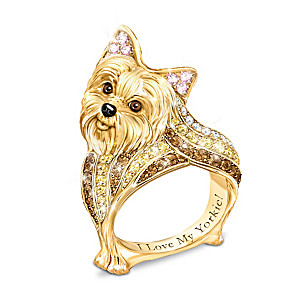 """Best In Show"" Yorkie Ring With Multi-Colored Crystals"
