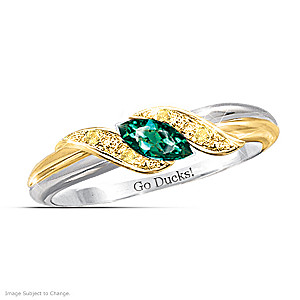 """Pride Of Oregon"" Emerald Engraved Embrace Ring"