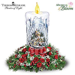 Thomas Kinkade Holiday Bouquet Crystal Candle Centerpiece