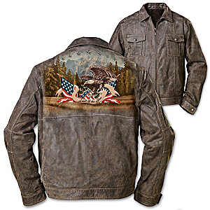 """Land Of The Free"" Men's Distressed Brown Leather Jacket"