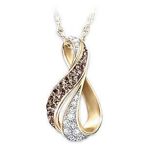 """Sweet Decadence"" Mocha And White Diamond Pendant Necklace"