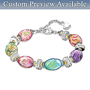 """""""Daughter I Wish You"""" Murano Style Glass Engraved Bracelet"""