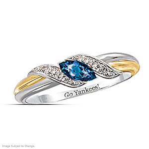 """Pride Of New York"" Blue Sapphire And Topaz Embrace Ring"