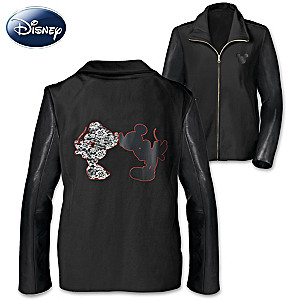 Mickey Mouse And Minnie Mouse Knit And Faux Leather Jacket
