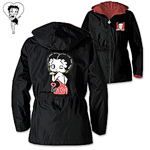 "Betty Boop ""With Just A Wink"" Hooded Anorak Jacket"