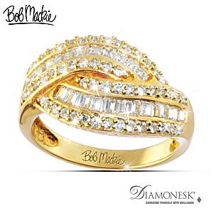 """Bob Mackie """"Golden Glamour"""" Diamonesk Ring"""