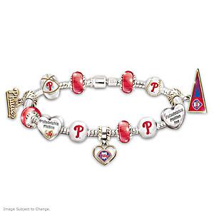 Philadelphia Phillies Charm Bracelet With Swarovski Crystal