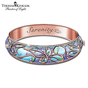 "Thomas Kinkade ""Serenity"" Engraved Copper Wellness Bracelet"