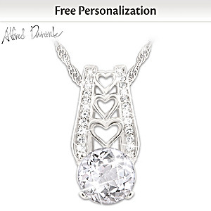 """Alfred Durante """"One Love"""" Personalized White Topaz Necklace"""