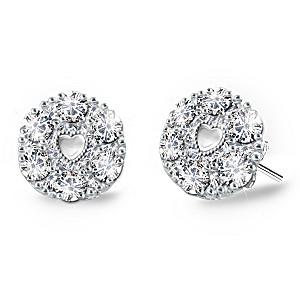 """Precious Daughter"" Sterling Silver Diamond Earrings"