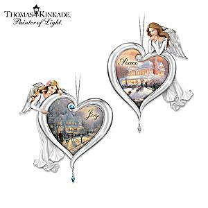 Thomas Kinkade Joy And Peace Angel Ornaments With Framed Art