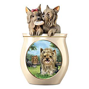 Linda Picken Yorkie Art Ceramic Cookie Jar With Sculpted Lid