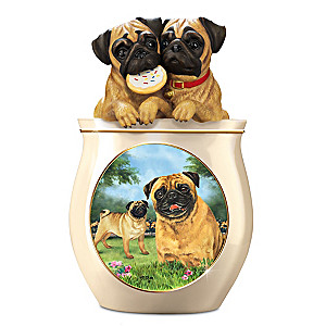Linda Picken Pug Art Ceramic Cookie Jar, Sculpted Lid