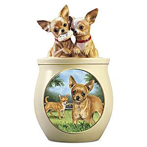 Linda Picken Chihuahua Art Ceramic Cookie Jar, Sculpted Lid