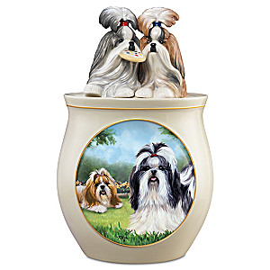 Linda Picken Shih Tzu Art Ceramic Cookie Jar, Sculpted Lid