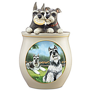 Linda Picken Schnauzer Art Ceramic Cookie Jar, Sculpted Lid