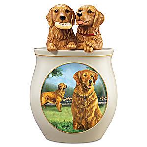 Linda Picken Golden Retriever Art Cookie Jar, Sculpted Lid