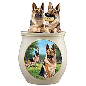 Linda Picken German Shepherd Art Sculpted Ceramic Cookie Jar