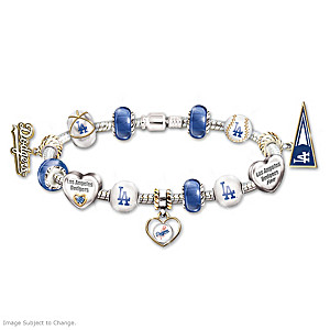 Los Angeles Dodgers Charm Bracelet With Swarovski Crystal