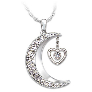 1f7e472cb7 Womens Necklace: I Love You To The Moon And Back Daughter Diamond ...