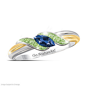 """Pride Of Seattle"" Blue Sapphire And Peridot Embrace Ring"