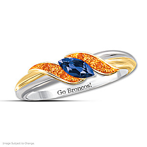 """Pride Of Denver"" Blue And Orange Sapphire Embrace Ring"