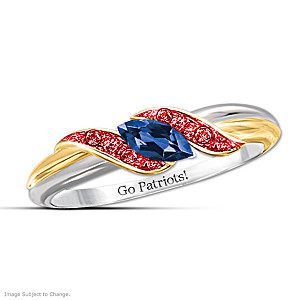 """""""Pride Of New England"""" Blue Sapphire And Ruby Embrace Ring"""