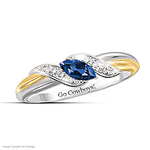 """Pride Of Dallas"" Blue Sapphire And White Topaz Embrace Ring"