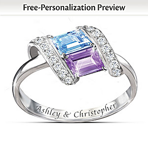 """Rhythm Of Romance"" Engraved Birthstone Ring"