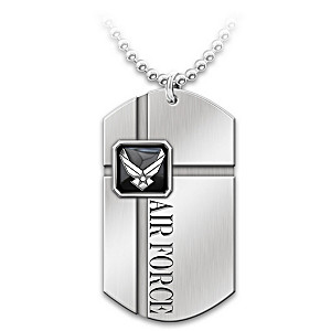 """For My Airman"" Stainless Steel Men's Dog Tag Necklace"