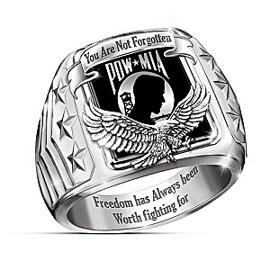 """Never Forgotten"" POW-MIA Tribute Men's Ring"