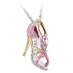 """Breast Cancer Awareness """"Step Out For Hope"""" Pendant Necklace"""