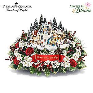 Thomas Kinkade Lighted Floral Holiday Village Centerpiece