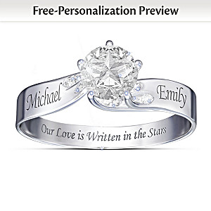 """Written In The Stars"" Name-Engraved White Topaz Ring"