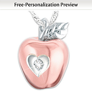 """Granddaughter Apple Of My Eye"" Personalized Diamond Pendant"