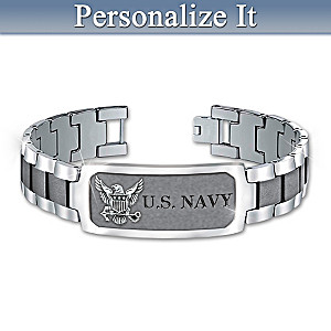 """Navy Pride"" Stainless Steel Personalized Men's ID Bracelet"