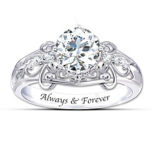 """Happily Ever After"" White Topaz Engraved Ring"
