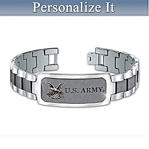 U.S. Army Stainless Steel Personalized Men's ID Bracelet