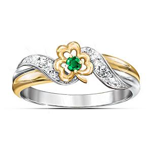 """Lucky Shamrock"" Emerald And Diamond Embrace Ring"