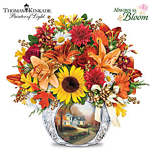 Thomas Kinkade Lighted Autumn Bouquet And Crystal Vase