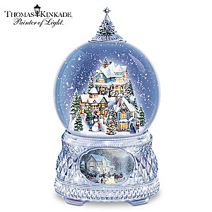 "Thomas Kinkade ""Home For The Holidays"" Crystal Snowglobe"