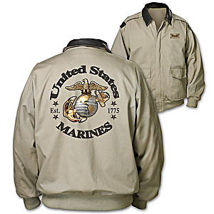 """Marines Forever"" Men's Twill Jacket With Embossed Plaque"