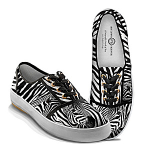 """Zebra Luxe"" Women's Canvas Art Sneakers With Zebra Print"