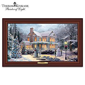 Thomas Kinkade Victorian Family Christmas Lighted Wall Decor