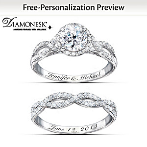 Entwined Diamonesk Bridal Rings With Personalized Engraving