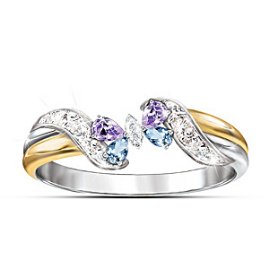 """Lena Liu """"Jeweled Butterfly Embrace"""" Amethyst And Topaz Ring"""