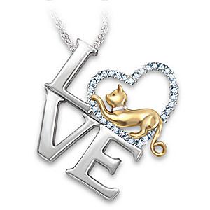 """I Love My Cat"" Swarovski Crystal Pendant Necklace"